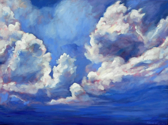 Original oil painting of clouds by Katie Wall Podracky