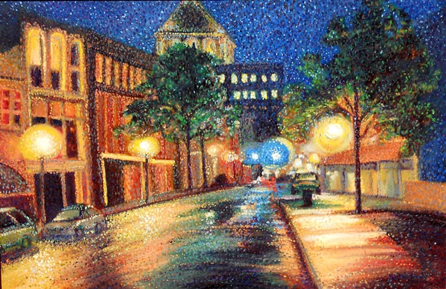 Original oil painting of downtown Greensboro by Katie Wall Podracky