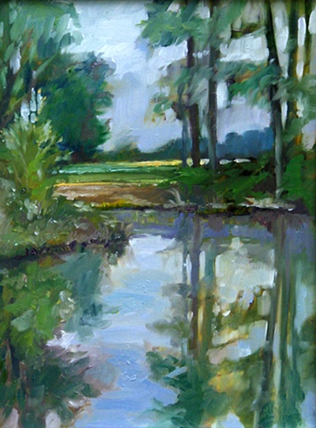 "Original oil painting, ""Morning at the Lake"" by Katie Wall Podracky"