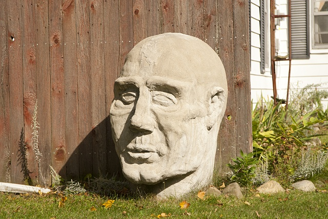 concrete cement sculpture head large scale