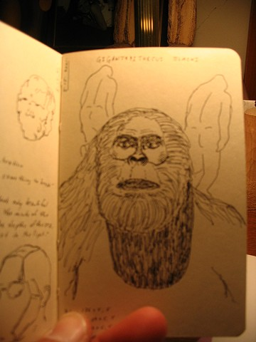 sketchbook drawing pen and ink bigfoot sasquatch Gigantopithecus Blacki