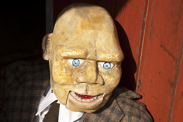 A fully functional ventriloquist dummy.   Custom made suit by Brigit Péwé.