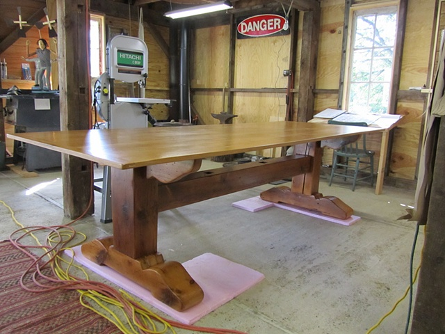 reclaimed lumber wood furniture dining table trestle style custom