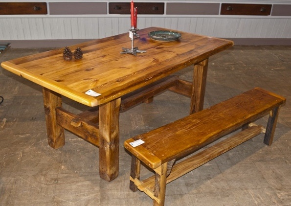 salvaged barn wood reclaimed lumber furniture custom art studio table bench