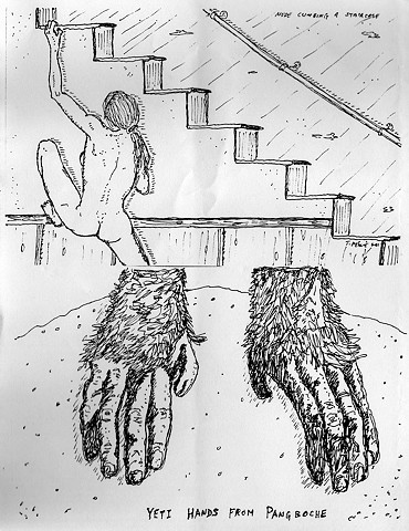 sketchbook drawing pen and ink bigfoot sasquatch Gigantopithecus Blacki nude climbing a staircase