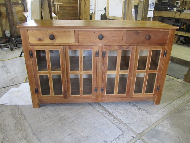 reclaimed lumber wood furniture sideboard glass doors