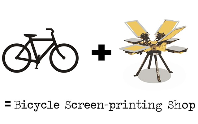 Bicycle screen printing shop