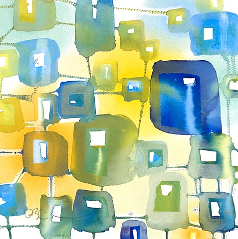 Blues and yellows painting abstract fine art