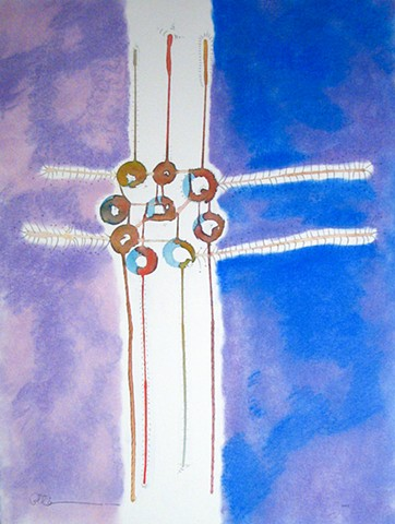 Watercolor dream catcher, abstract art painting