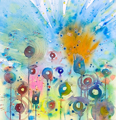 Texas wildflowers picture abstract watercolor