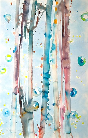 Blue bamboo abstract painting, watercolor, fine art