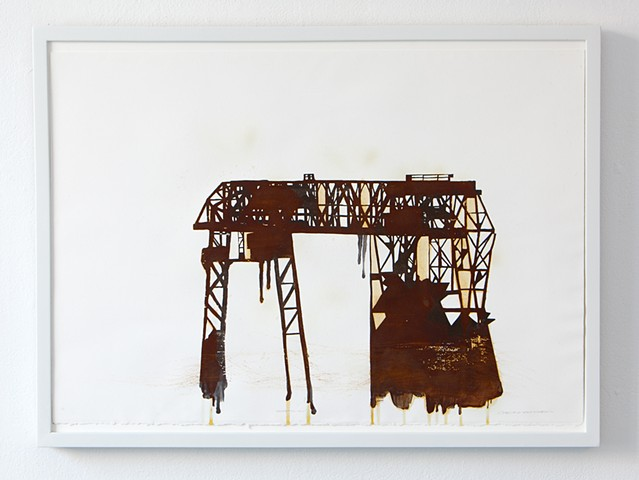 Screenprint with iron-based ink and rust patina on rag paper based on Carrie Furnace of Carnegie Steel Homestead Works in Homestead, PA
