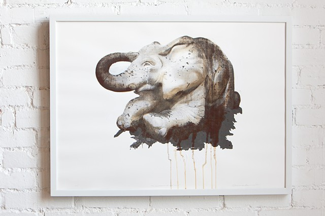 Screen print with iron and rust patina on rag paper of an elephant statue located in a playground in Homestead, PA