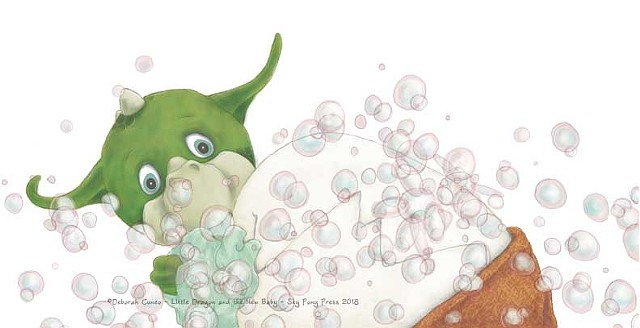 Scrubbing  Bubbles...Little Dragon and the New Baby - Sky Pony Press 2018