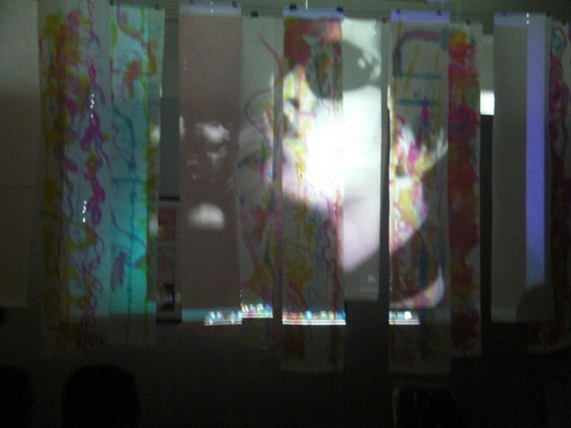 The Andy Warhol Museum Lou Reed screen test projected on CAPA student's sound visualizations