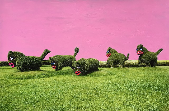 Pink Sky Above The Topiary