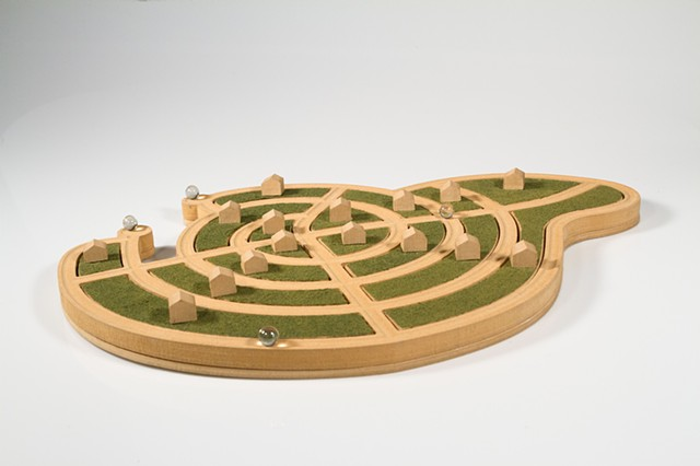 Interlocking puzzle and marble track