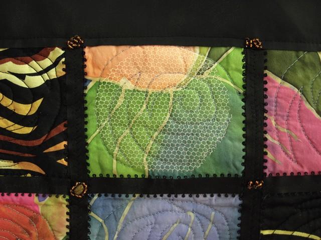 Art quilt black silk