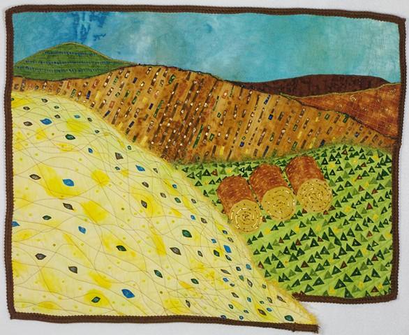 art quilt hayfield