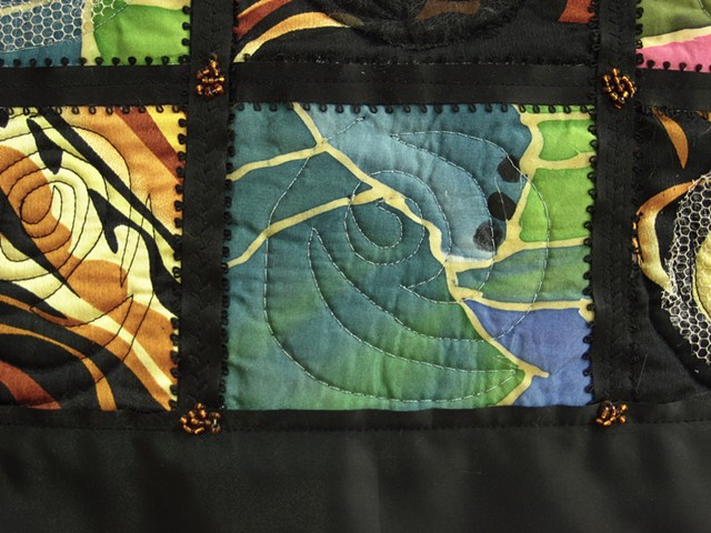 Art quilt gold silk