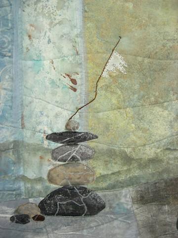Art quilt Rock Cairn