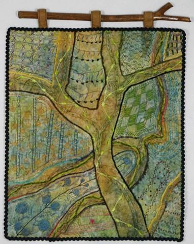 Art quilt zendoodle tree