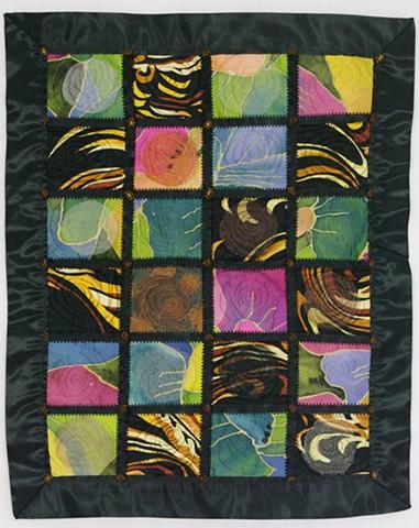 Art quilt silk floral