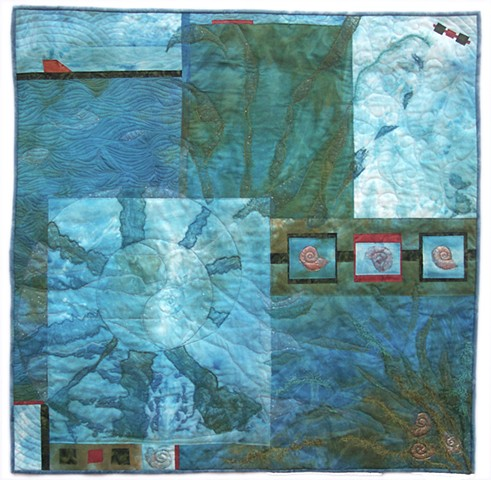 An art quilt water cycle ammonite