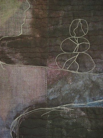 rock cairn art quilt