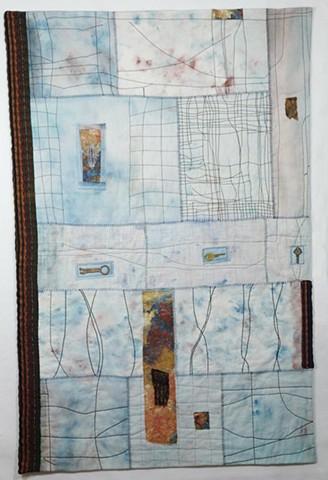 Door, Art Quilt, Key, window