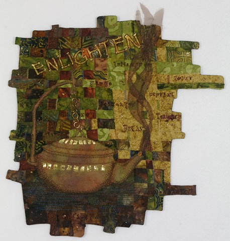Art quilt oil lamp woven