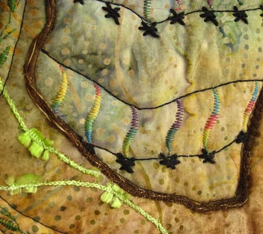 Art quilt zendoodle vines
