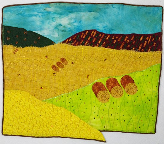 art quilt hayfield
