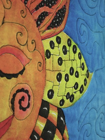 Art quilt zendoodle sun