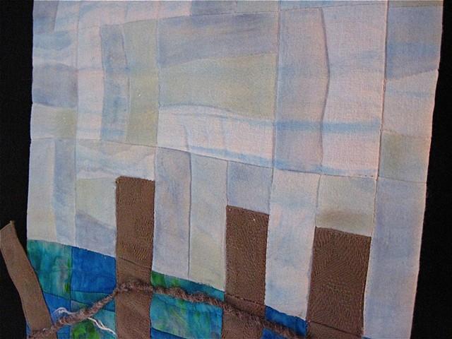 Art quilt beach fence