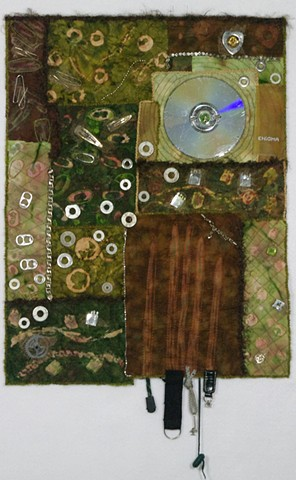 art quilt Green found objects