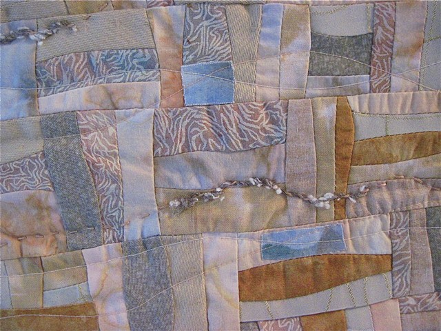 Art quilt rail fence interpretation
