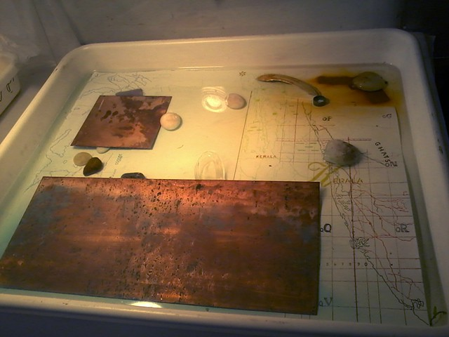 Precipitating Images with iron & copper in salt water