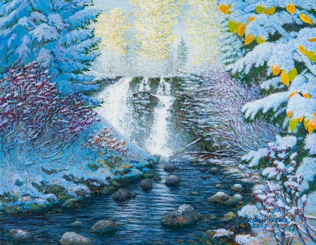 Painting, Fairy Creek Falls, waterfalls, Fernie B.C. snow, Rocky Moutains,