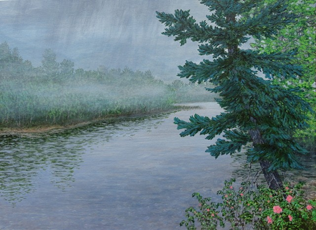 A painting on a misty, rainy day of part of the Elk River in Fernie, B.C. in the Canadian Rockies.
