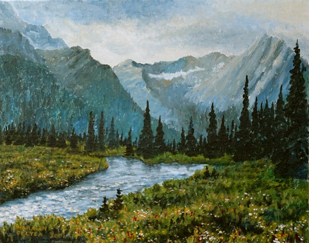 A painting of the Elk River winding through a mountain meadow, near the source of the river in Elk Lakes Provincial Park in south-eastern B.C.