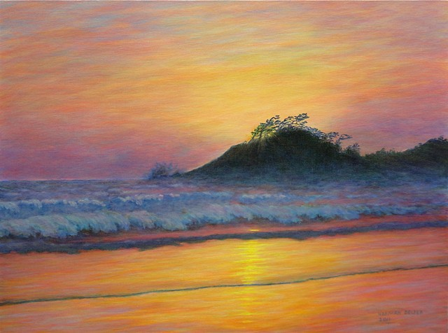 A painting of a sunset on Cox Bay near Tofino and Long Beach on the West Coast of Vancouver Island, B.C.