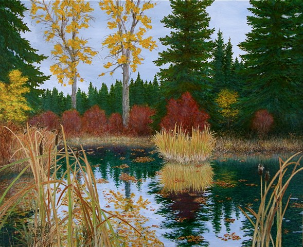 A painting from Fernie, B.C.  of a pond in autumn, fall, beside Maiden Lake.