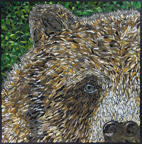 stained glass mosaic grizzly bear, portrait of a grizzly