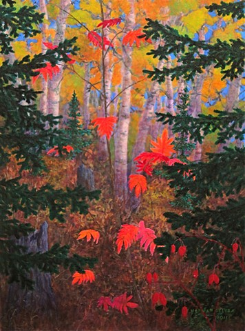 A painting of crimson red Mountain Ash and golden Birch in a forest near Fernie, B.C.