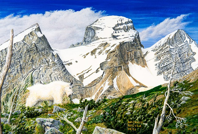 A painting of a mountain goat with the Three Sisters, or Trinity Mountain, at Fernie, B.C. in The Canadian Rocky Mountains.