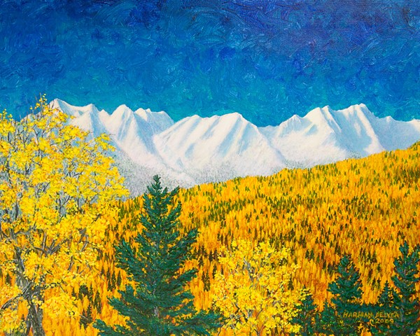 A painting of brilliant yellow aspen and larch / tamarack trees contrast fresh snow on the Lizard Range near Fernie, B.C.