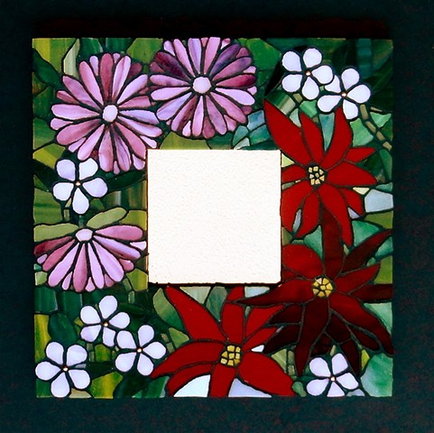 stained glass flowers mosaic mirror