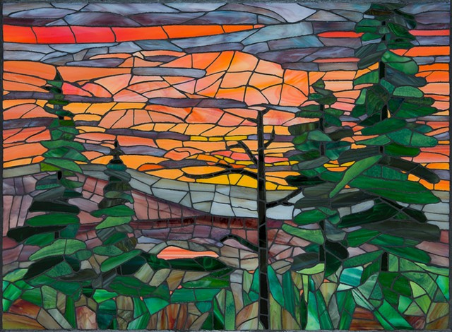 stained-glass mosaic mountain sunset