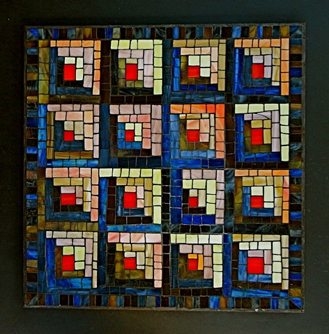 Log Cabin stained-glass mosaic